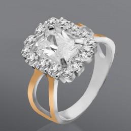 """Кольцо из серебра и золота с фианитами """"Леди"""""""