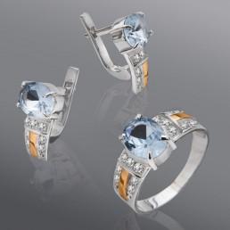 """Гарнитур """"Адель"""" из серебра и золота с камнями"""