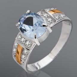"""Кольцо """"Адель"""" из серебра и золота с камнями"""