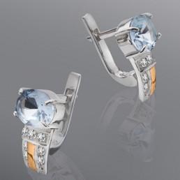 """Серьги """"Адель"""" из серебра и золота с камнями"""