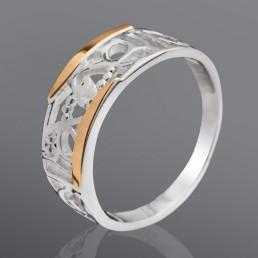 """Серебряное кольцо """"Настроение"""" с золотом, без камней"""