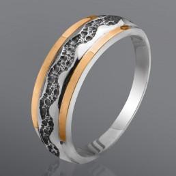 """Серебряное кольцо """"Тайна"""" со вставками золота"""