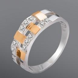 """Кольцо """"Монтерей"""", украшенный белыми камнями"""