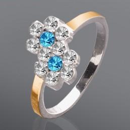 """Серебряное кольцо с золотыми вставками и камнями """"Фея"""""""