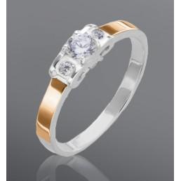 "Кольцо ""Ника"" из серебра и золота"