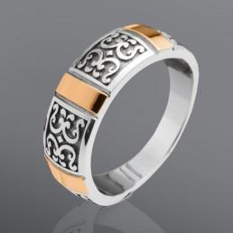"""Серебряное кольцо """"Селена"""" со вставками золота"""
