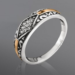 """Кольцо """"Нюкта"""" из серебра и золота"""