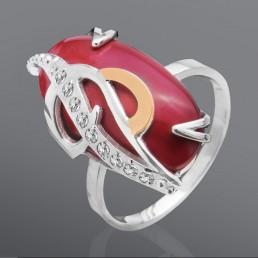 """Женское кольцо """"Астерия"""" с кораллом"""