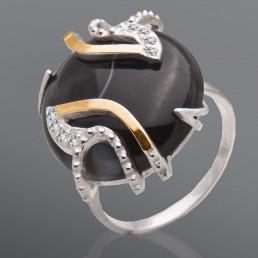"""Женское кольцо """"Бриз"""" из серебра и золота с агатом"""