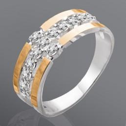 """Кольцо из серебра и золота """"Торжество"""""""
