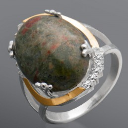 """Женское серебряное кольцо с золотом """"Сабрина"""""""