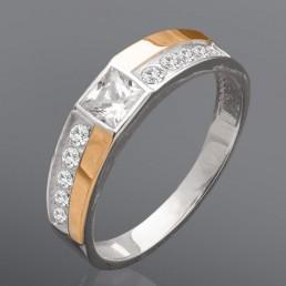 """Женский перстень """"Меланж"""" - серебро с золотом"""