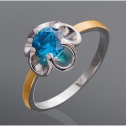 """Женское кольцо с фианитом """"Орхидея"""""""