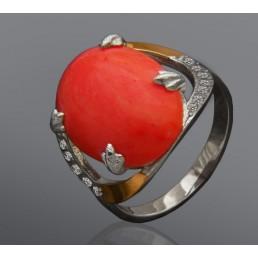"""""""Лея"""" - серебряное кольцо со вставкой золота"""