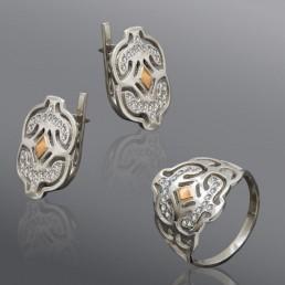 """Комплект украшений из серебра со вставкой золота """"Луиза"""""""