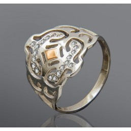 """Кольцо со вставкой золота из серебра - """"Луиза"""""""