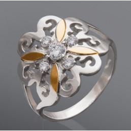 """Серебряное кольцо со вставками золота """"Лилия"""""""