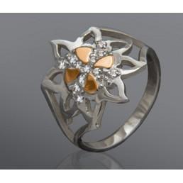 """Серебряное кольцо """"Симона"""" со вставкой золота"""