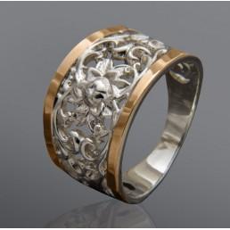 """Женское кольцо """"Эвелина"""" с золотыми вставками"""