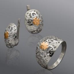 """Гарнитур """"Изабелла"""", сделан из серебра и золота"""
