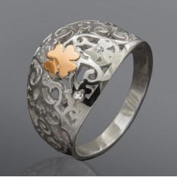"""Кольцо """"Изабелла"""" из серебра и золота"""