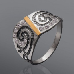 "Серебряное кольцо со вставкой золота ""Таллин"""