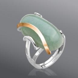 """Женское кольцо с нефритом """"Омега"""""""