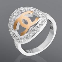 """Кольцо с белыми камнями """"Шанель"""""""