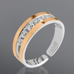 """Кольцо из серебра и золота с белыми цирконами """"Флоренция"""""""