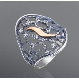 """Кольцо из серебра и золота, украшенное фианитами """"Паутинка"""""""