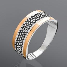 """Серебряное кольцо с золотом """"Гранд"""""""