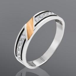 """Серебряное кольцо со вставками золота """"Параллель"""""""