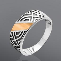 """Кольцо из серебра со вставкой золота """"Аврора"""""""