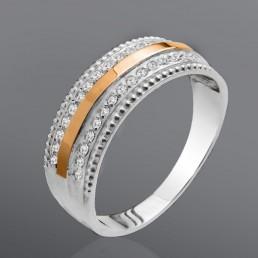 """Серебряное кольцо с золотом и камнями """"Афина"""""""