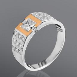 """Женское кольцо """"Квадрат"""" из серебра и золота"""