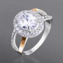 """Кольцо из серебра и золота """"Адриана"""", украшено овальным камнем"""