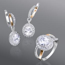 """Гарнитур из серебра и золота """"Адриана"""", украшен овальным камнем"""