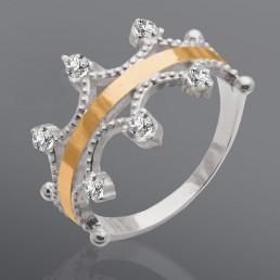 """Женское кольцо из серебра и золота """"Корона"""""""