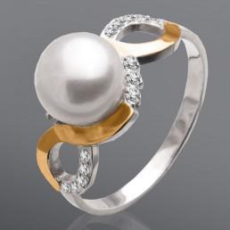 """Женское кольцо с жемчугом и фианитами """"Нежность"""""""