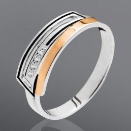 """Кольцо из серебра и золота """"Штрих"""""""