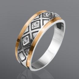 """Кольцо из серебра и золота """"Беатрикс"""""""
