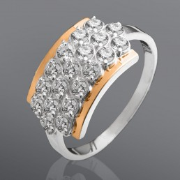 """Женское кольцо """"Мечта"""" с белыми и цветными камнями"""