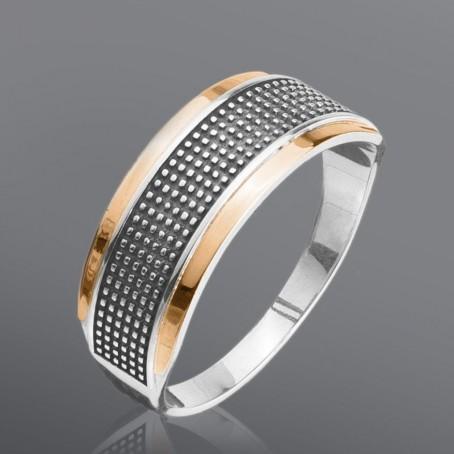 """Серебряное кольцо с золотом """"Эталон"""""""