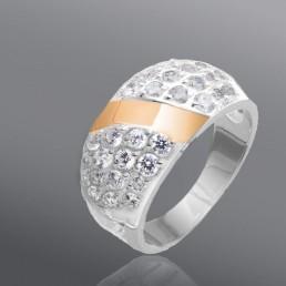"""Женское серебряное кольцо со вставками золота """"Триумф"""""""