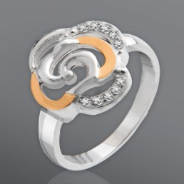 """Кольцо из серебра с золотом """"Роза"""""""