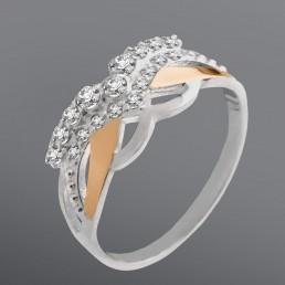 """Женское кольцо """"Маска"""" со вставкой из белых фианитов"""