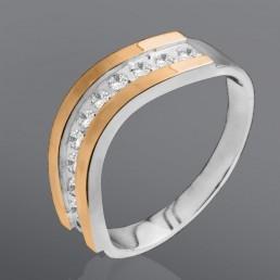"""Кольцо """"Волна"""" из серебра и золота"""