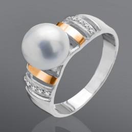 """Серебряное кольцо с золотом """"Жемчужина"""""""