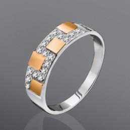"""Кольцо """"Шахматы"""", выполнено из серебра и золота"""