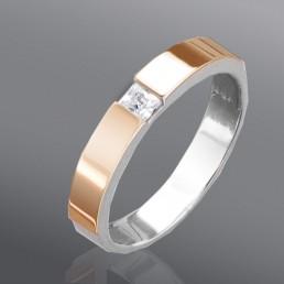 """Женское кольцо """"Классика""""  из золота и серебра"""